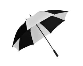 Dežnik GOLF, družinski, premer 130 cm, črno-bel